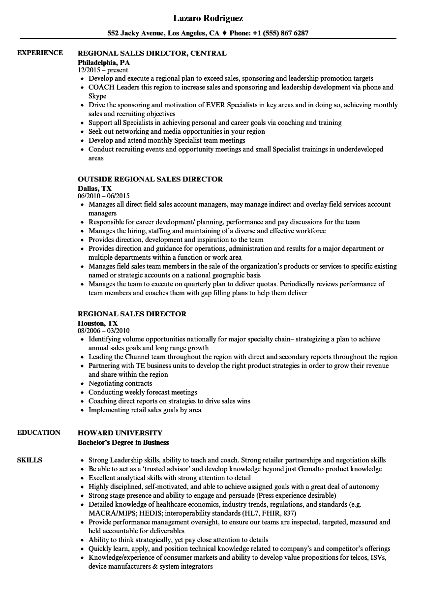 Regional Sales Director Resume Samples | Velvet Jobs