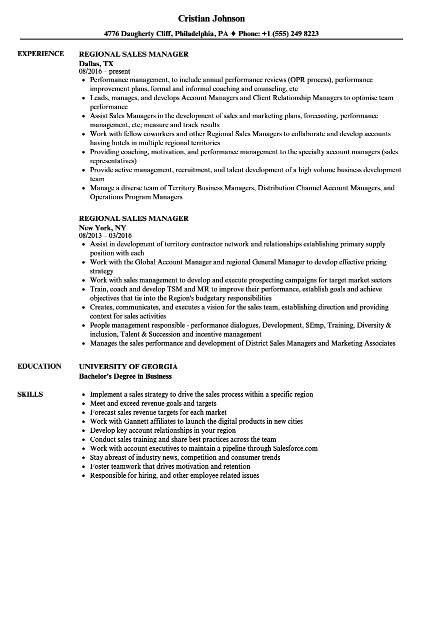 Regional Sales Manager Resume Samples | Velvet Jobs