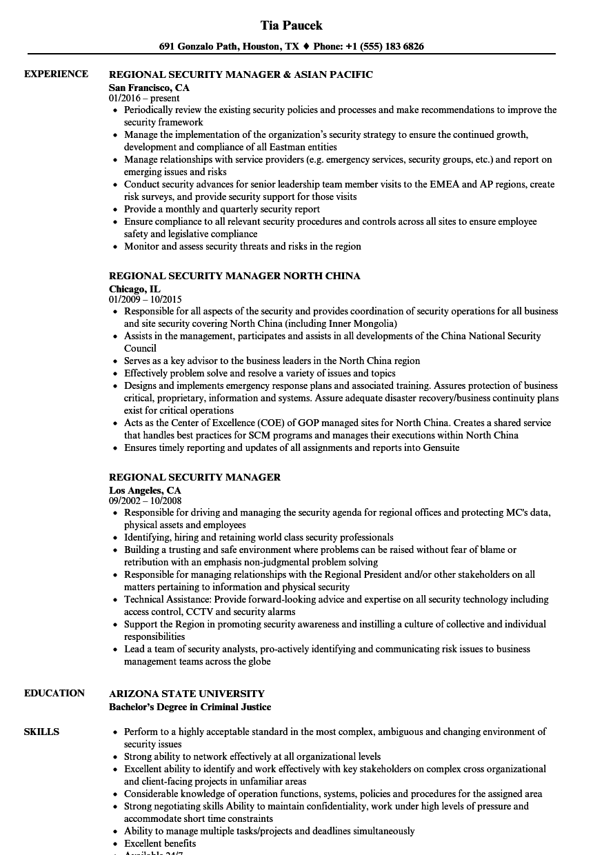 download regional security manager resume sample as image file - Security Manager Resume