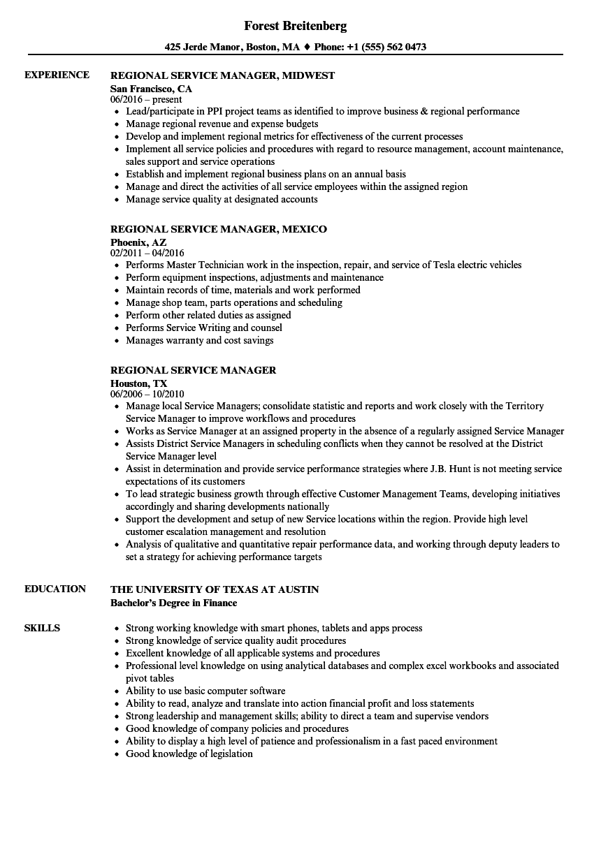regional service manager resume samples