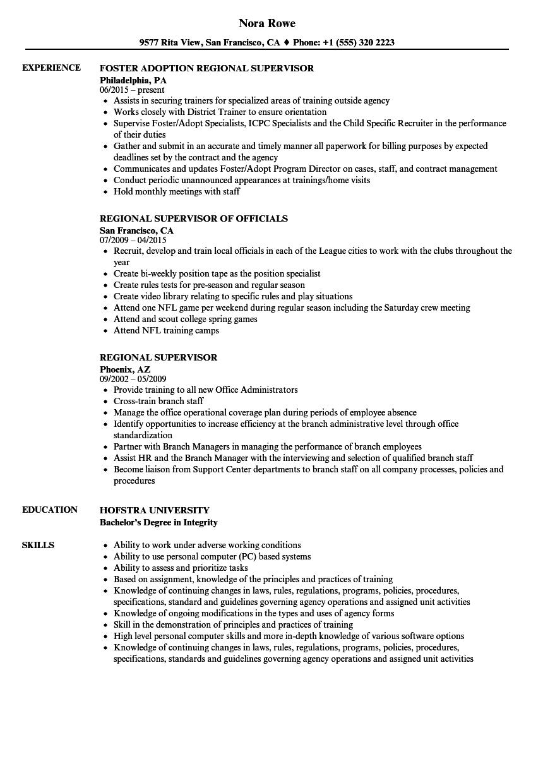 regional supervisor resume samples