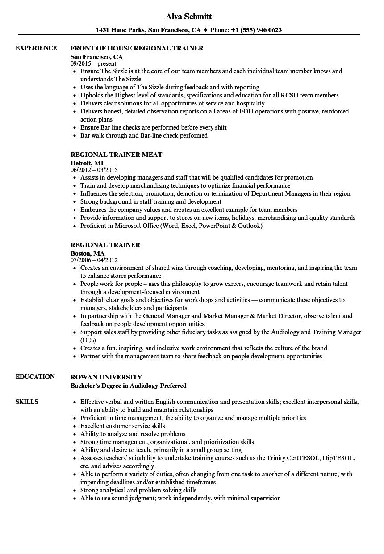 regional trainer resume samples