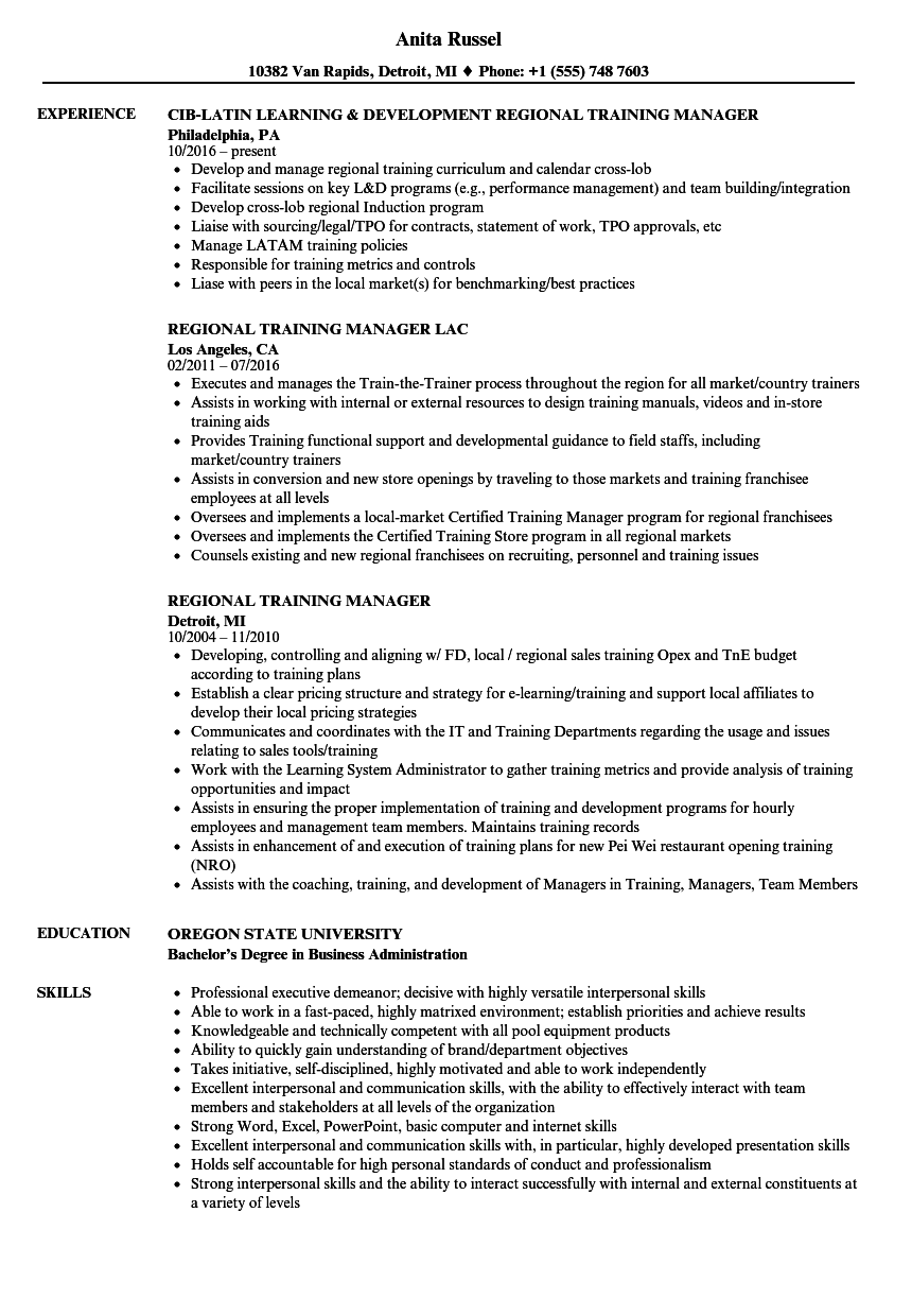 regional training manager resume samples