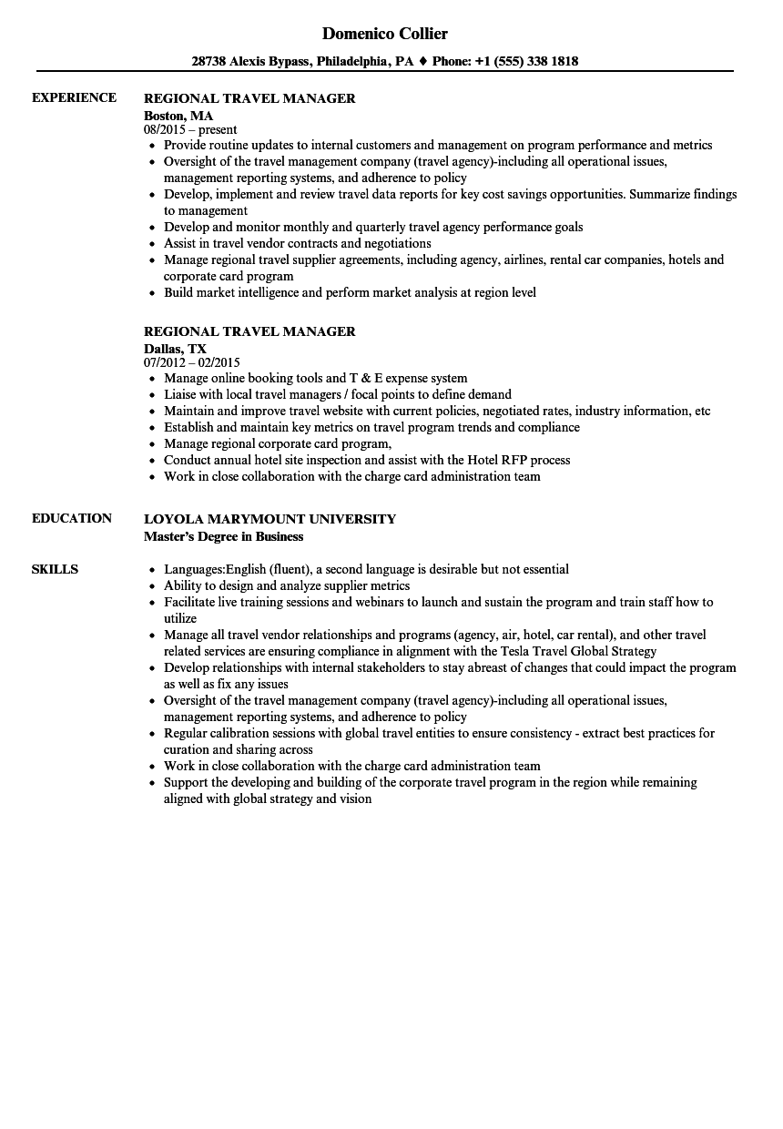Regional Travel Manager Resume Samples | Velvet Jobs