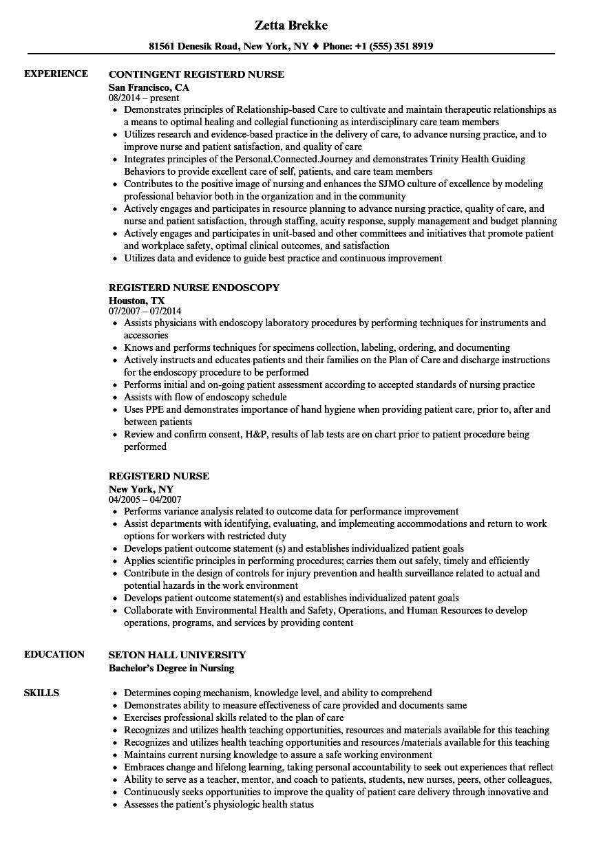 registerd nurse resume samples