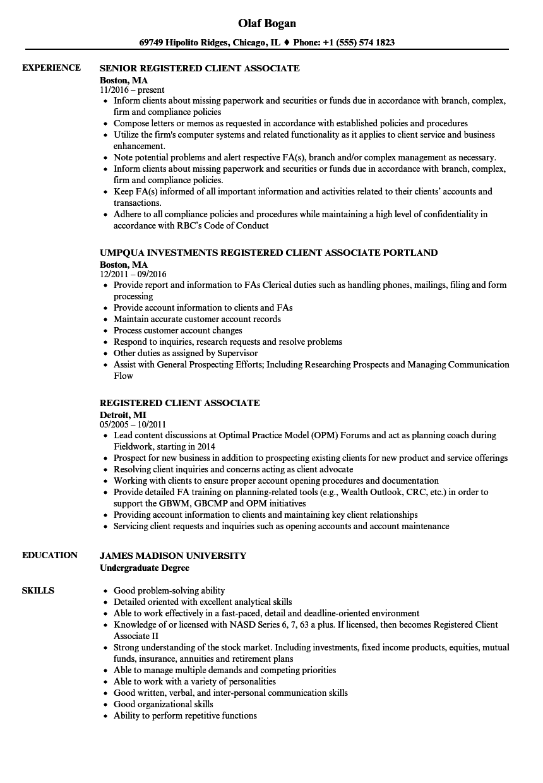 Download Registered Client Associate Resume Sample as Image file