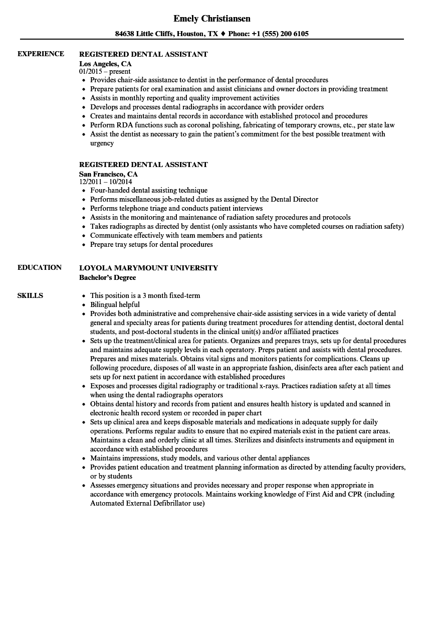 registered dental assistant resume samples velvet jobs