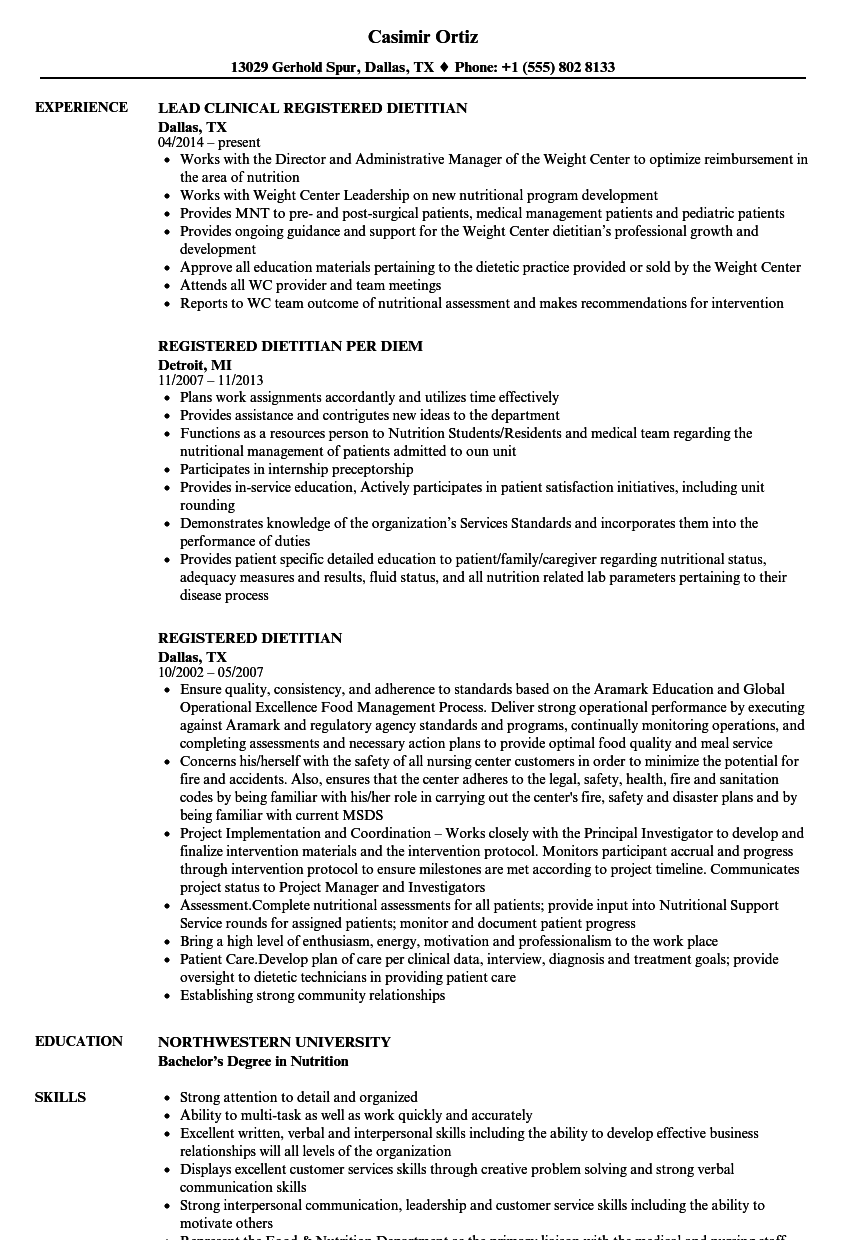 Registered Dietitian Resume Samples | Velvet Jobs