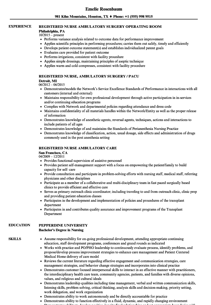 Great Download Registered Nurse Ambulatory Resume Sample As Image File