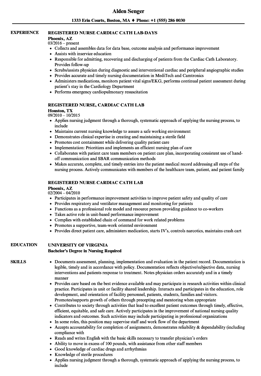 Registered Nurse Cardiac Cath Resume Samples Velvet Jobs