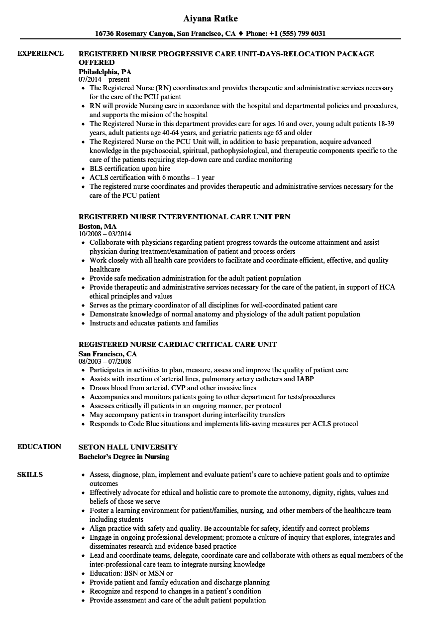 Registered Nurse Care Unit Resume Samples | Velvet Jobs