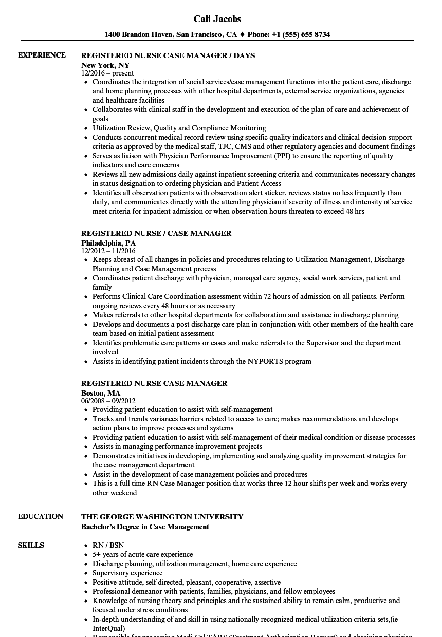 registered nurse case manager resume samples