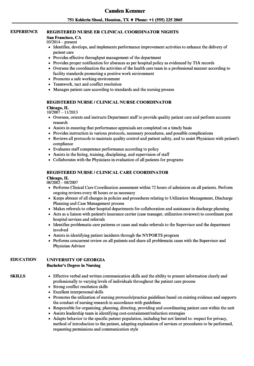 registered nurse clinical coordinator resume samples