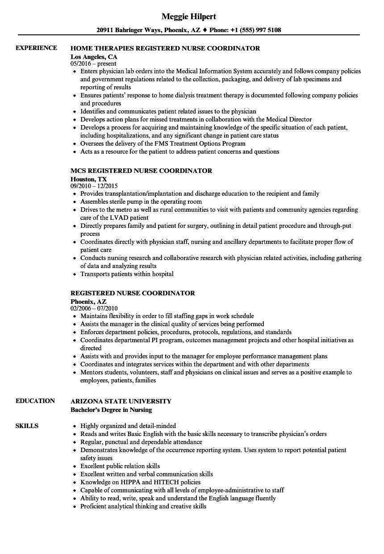 Registered Nurse Coordinator Resume Samples | Velvet Jobs