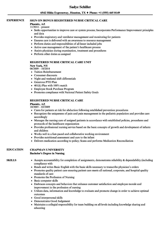 Critical care nurse practitioner sample resume
