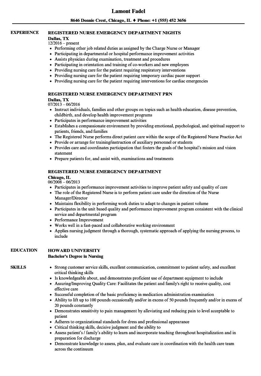 registered nurse emergency department resume samples