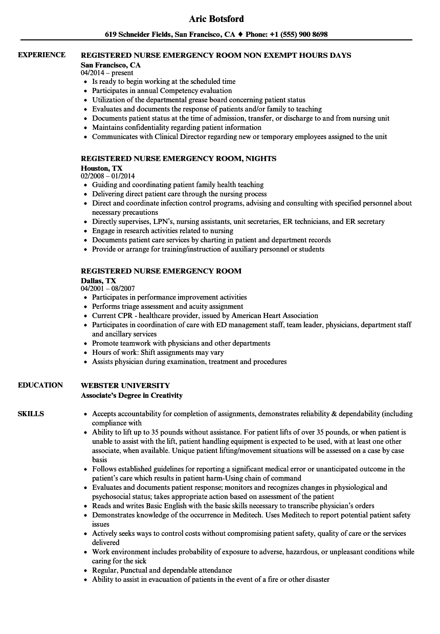 Registered Nurse Emergency Room Resume Samples | Velvet Jobs