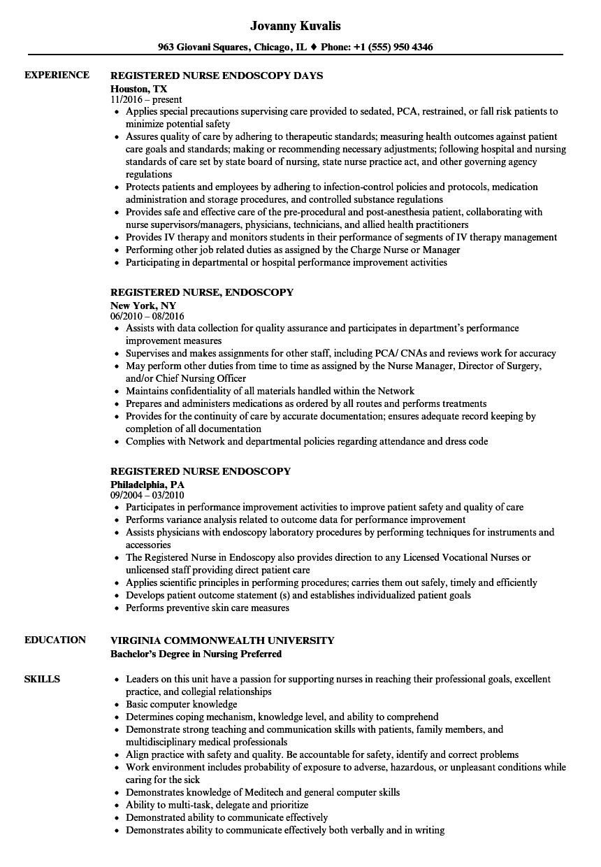 Registered Nurse Endoscopy Resume Samples Velvet Jobs
