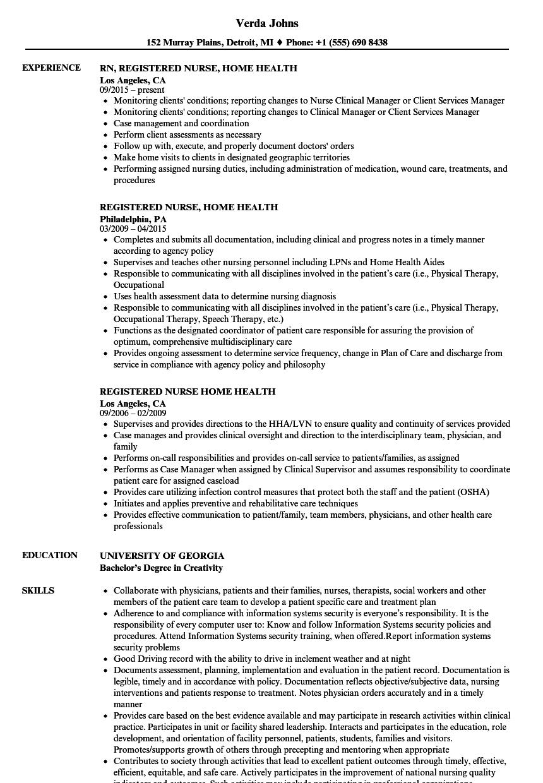 registered nurse home health resume samples