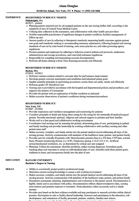 Icu nurse resume examples