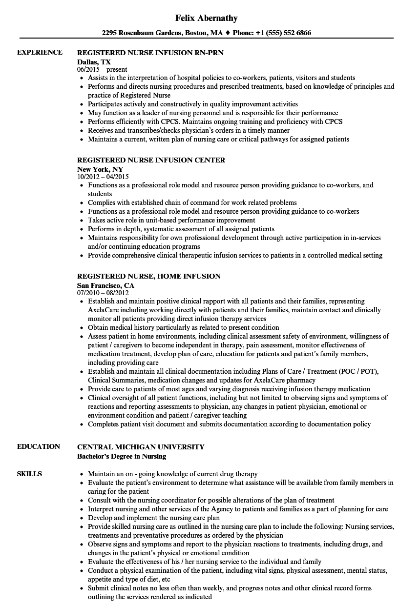 Download Registered Nurse Infusion Nurse Resume Sample As Image File