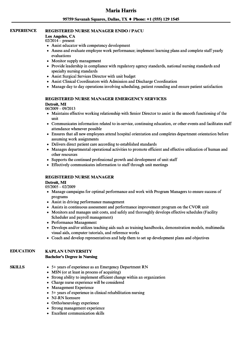 registered nurse manager resume samples