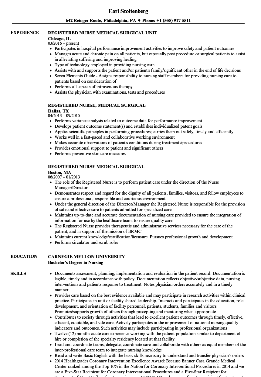 registered nurse medical surgical resume samples velvet jobs