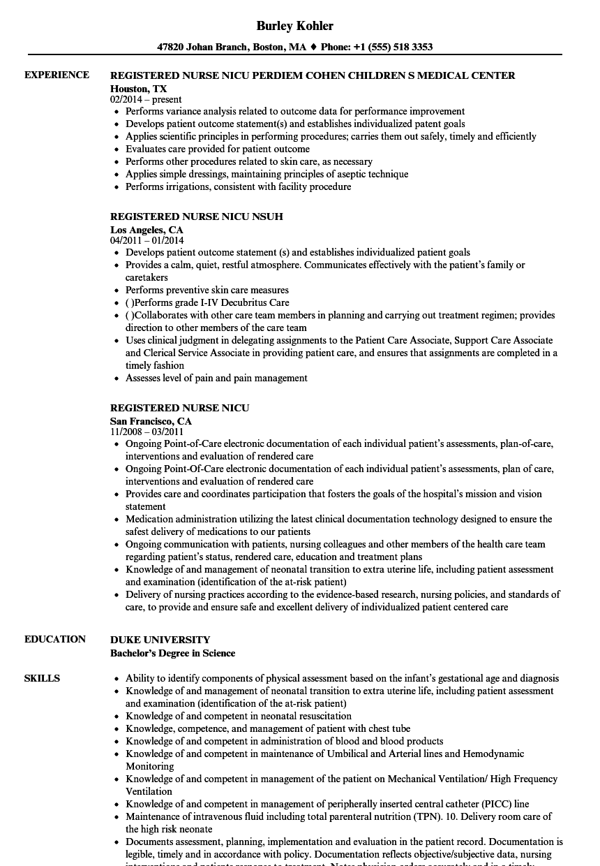 Download Registered Nurse Nicu Resume Sample As Image File