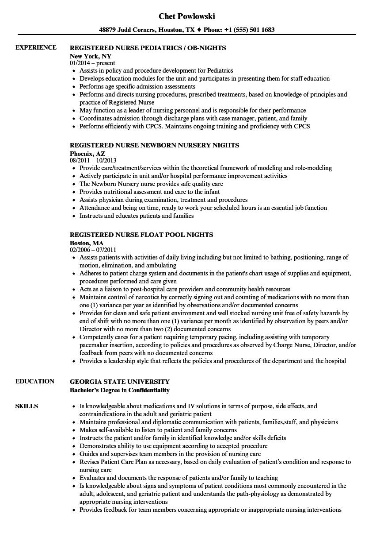 registered nurse   nights resume samples