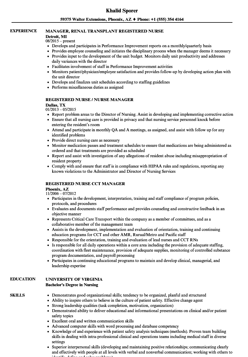 Registered Nurse / Nurse Manager Resume Samples | Velvet Jobs