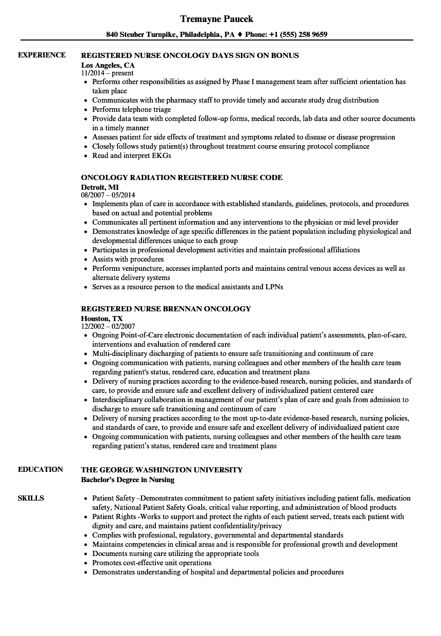 Registered Nurse Oncology Nurse Resume Samples Velvet Jobs