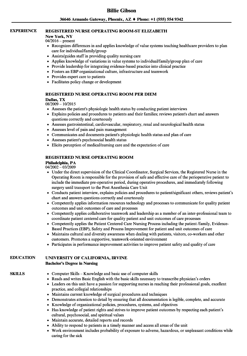Registered Nurse Operating Room Resume Samples