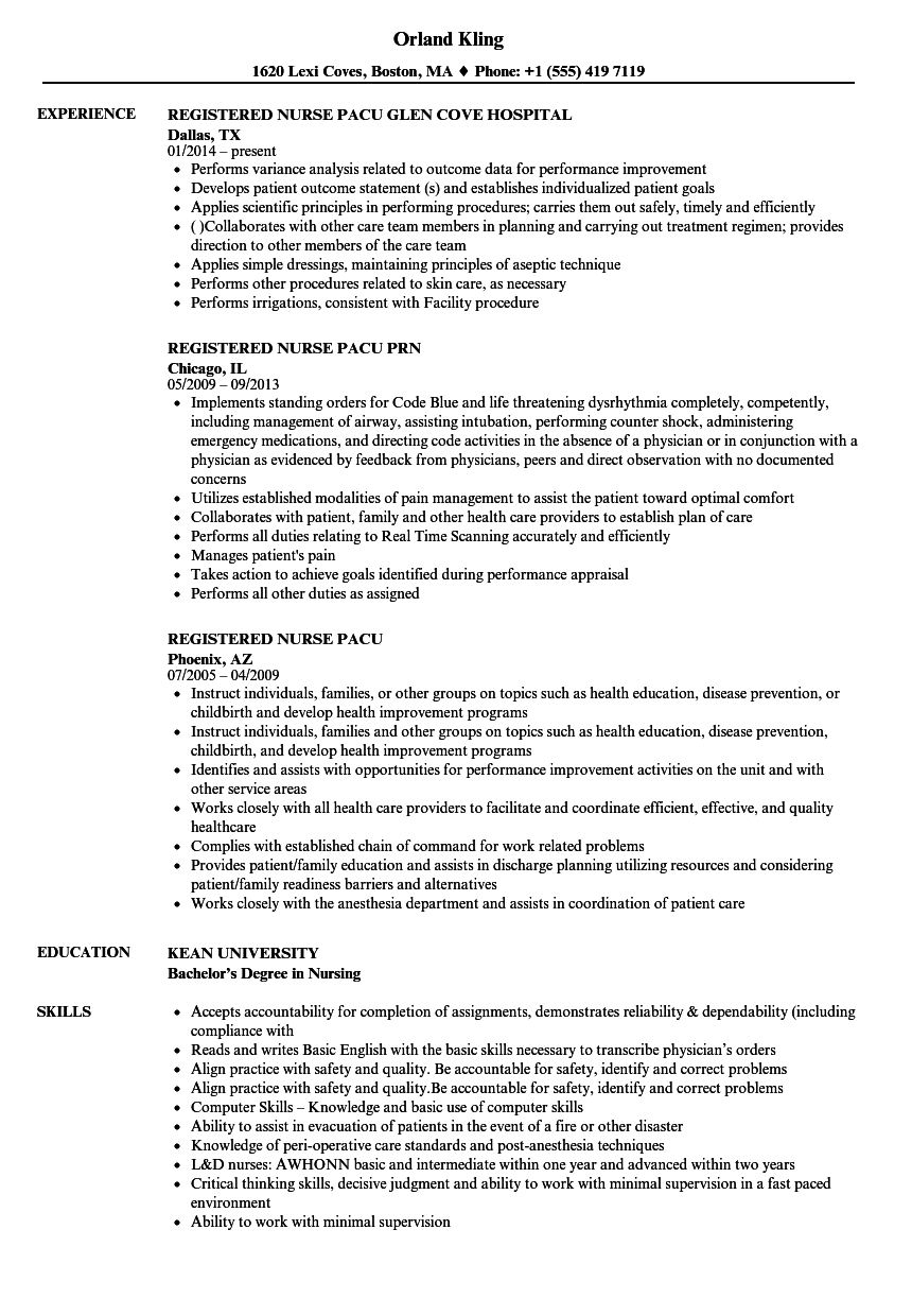 registered nurse pacu resume samples