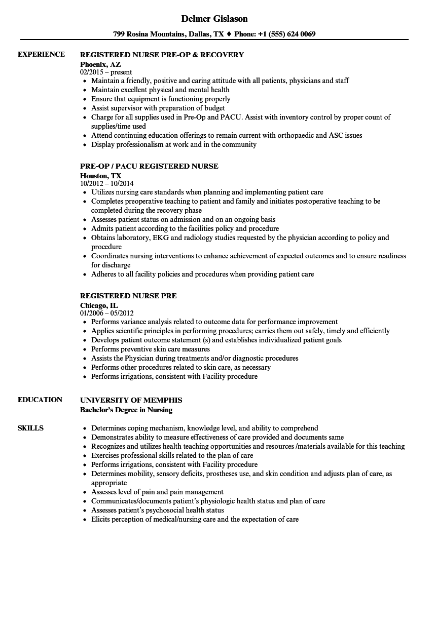 Download Registered Nurse Pre Resume Sample As Image File