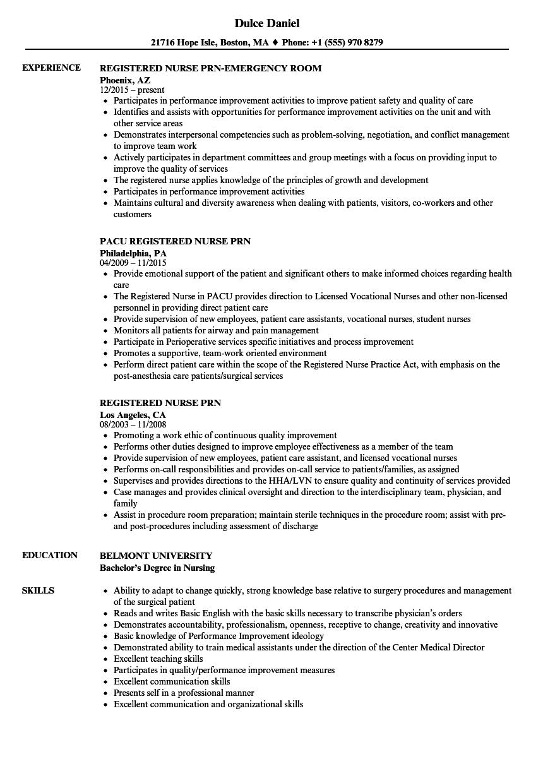 registered nurse prn resume samples