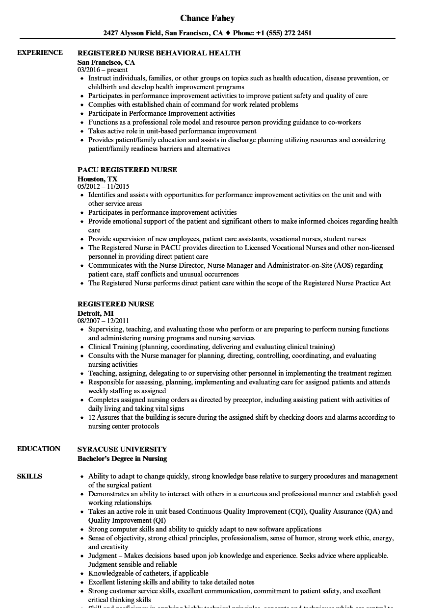 Registered Nurse Resume Samples | Velvet Jobs