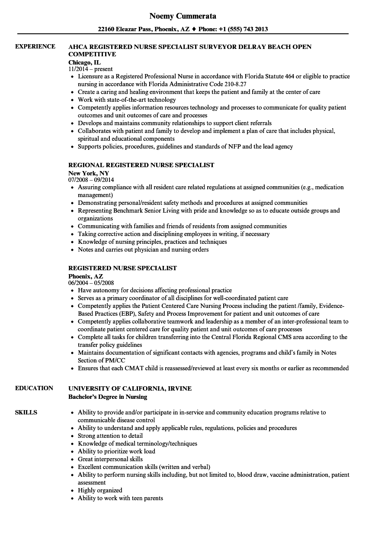 registered nurse specialist resume samples