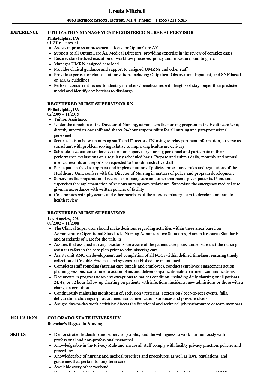 Registered Nurse Supervisor Resume Samples Velvet Jobs