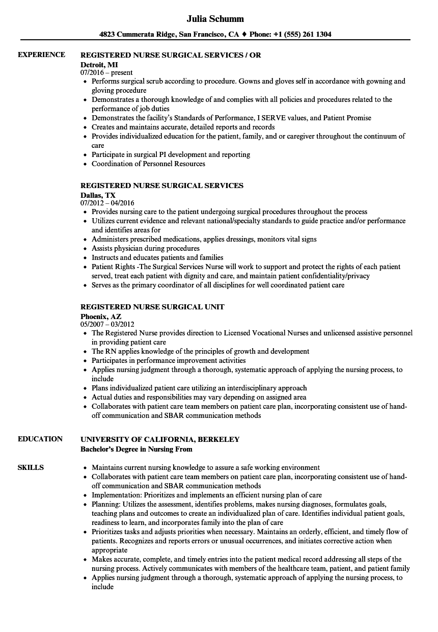 Registered Nurse Surgical Resume Samples Velvet Jobs