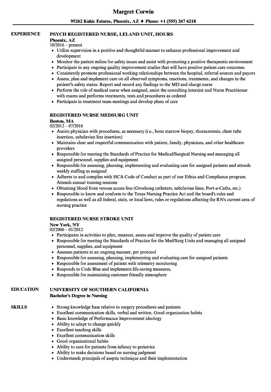 download registered nurse unit resume sample as image file - Registered Nurse Resume Sample