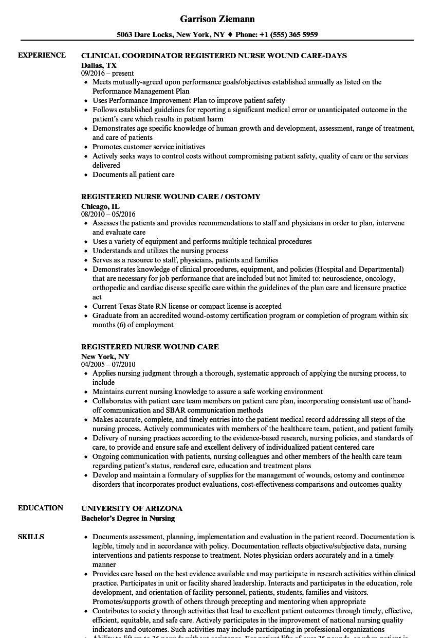 registered nurse wound care resume samples