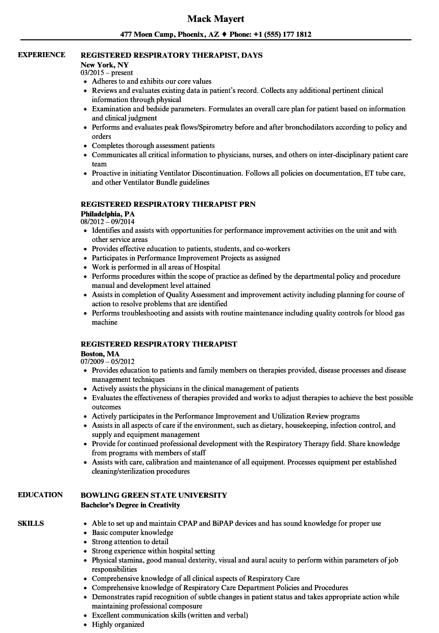 Registered Respiratory Therapist Resume Samples | Velvet Jobs