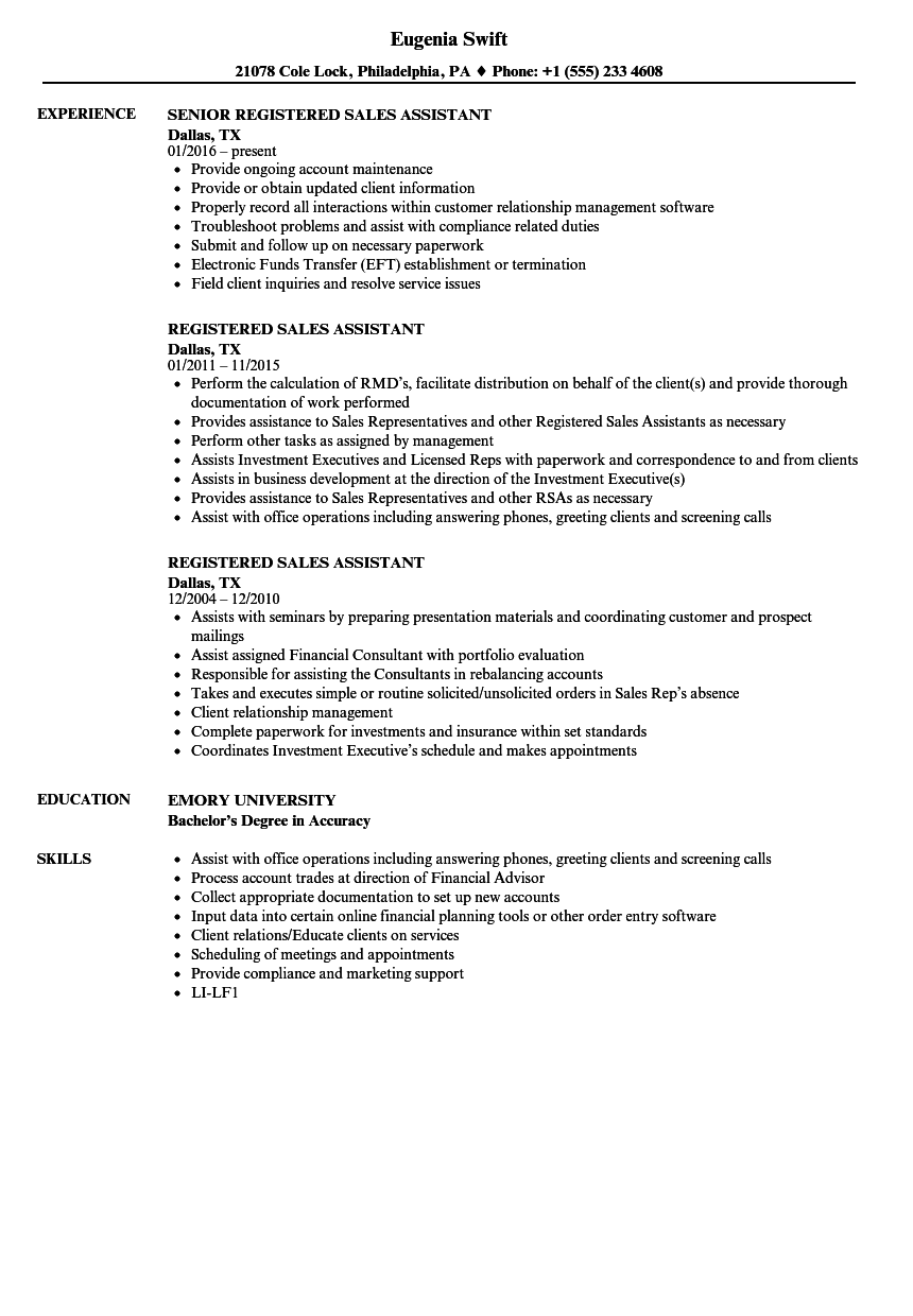 registered sales assistant resume samples velvet jobs