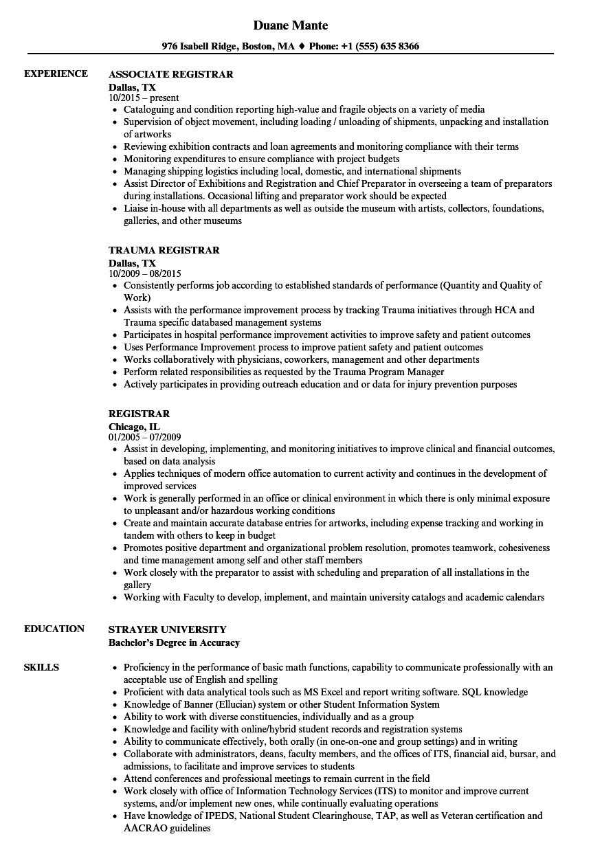 Download Registrar Resume Sample As Image File