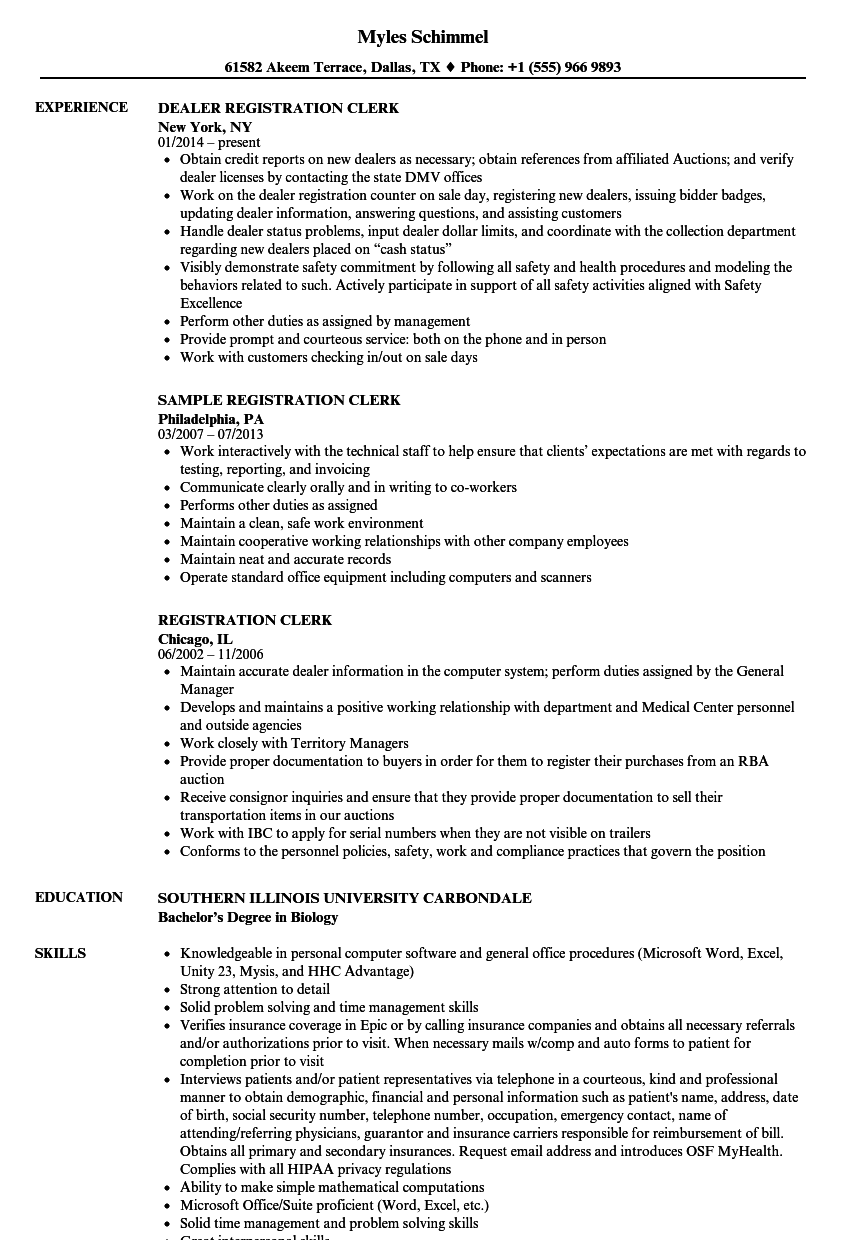 Download Registration Clerk Resume Sample As Image File  Courtesy Clerk Resume