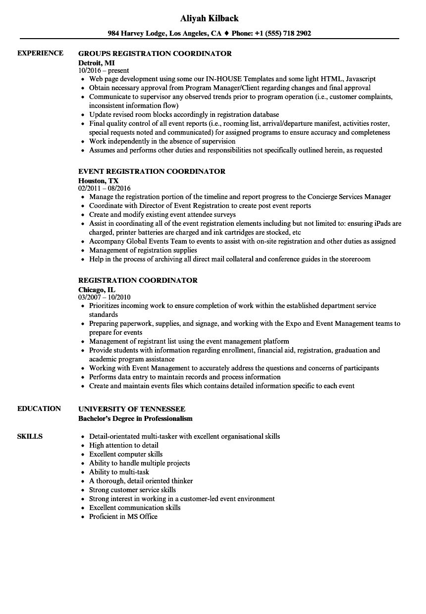 registration coordinator resume samples