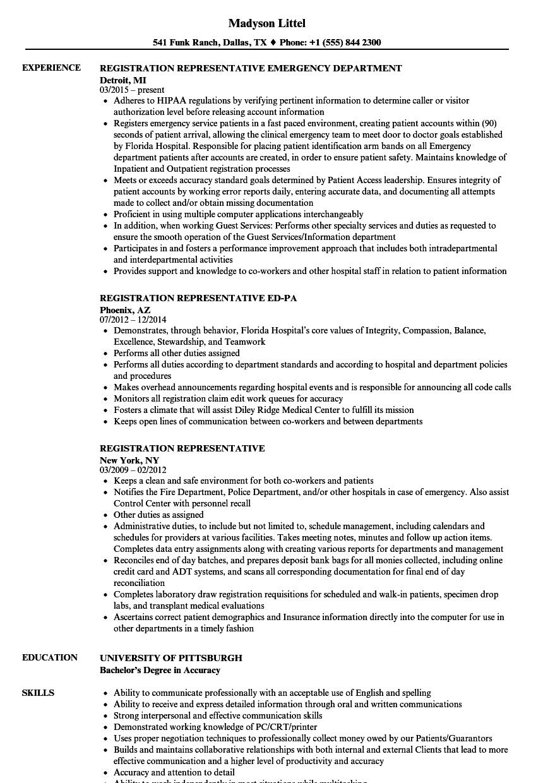 Registration Representative Resume Samples | Velvet Jobs