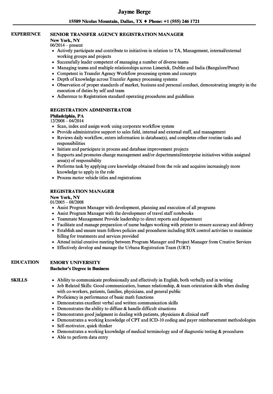 registration resume samples