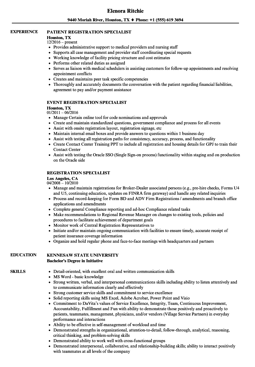Registration Specialist Resume Samples Velvet Jobs