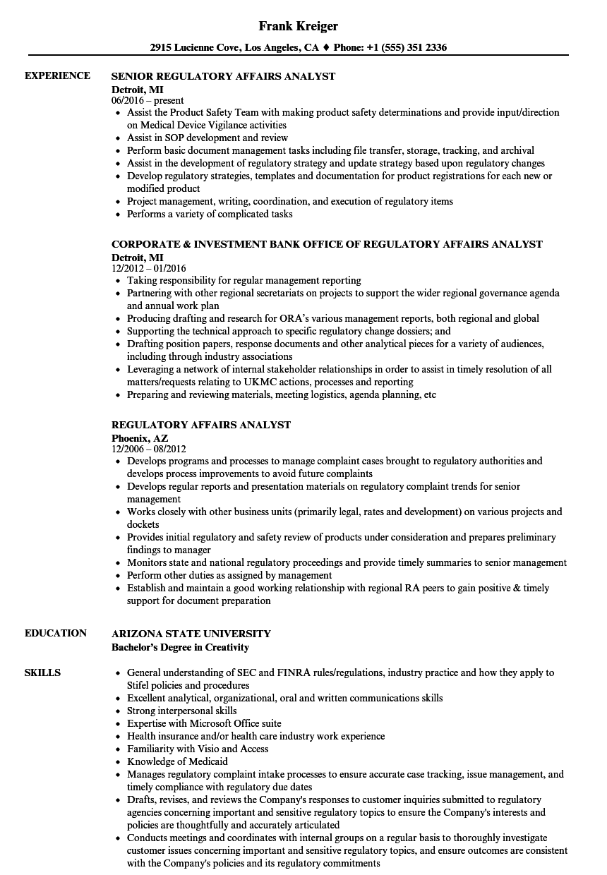 regulatory affairs analyst resume samples